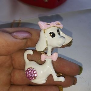 Betsey Johnson Puppy Dog Necklace/Brooch